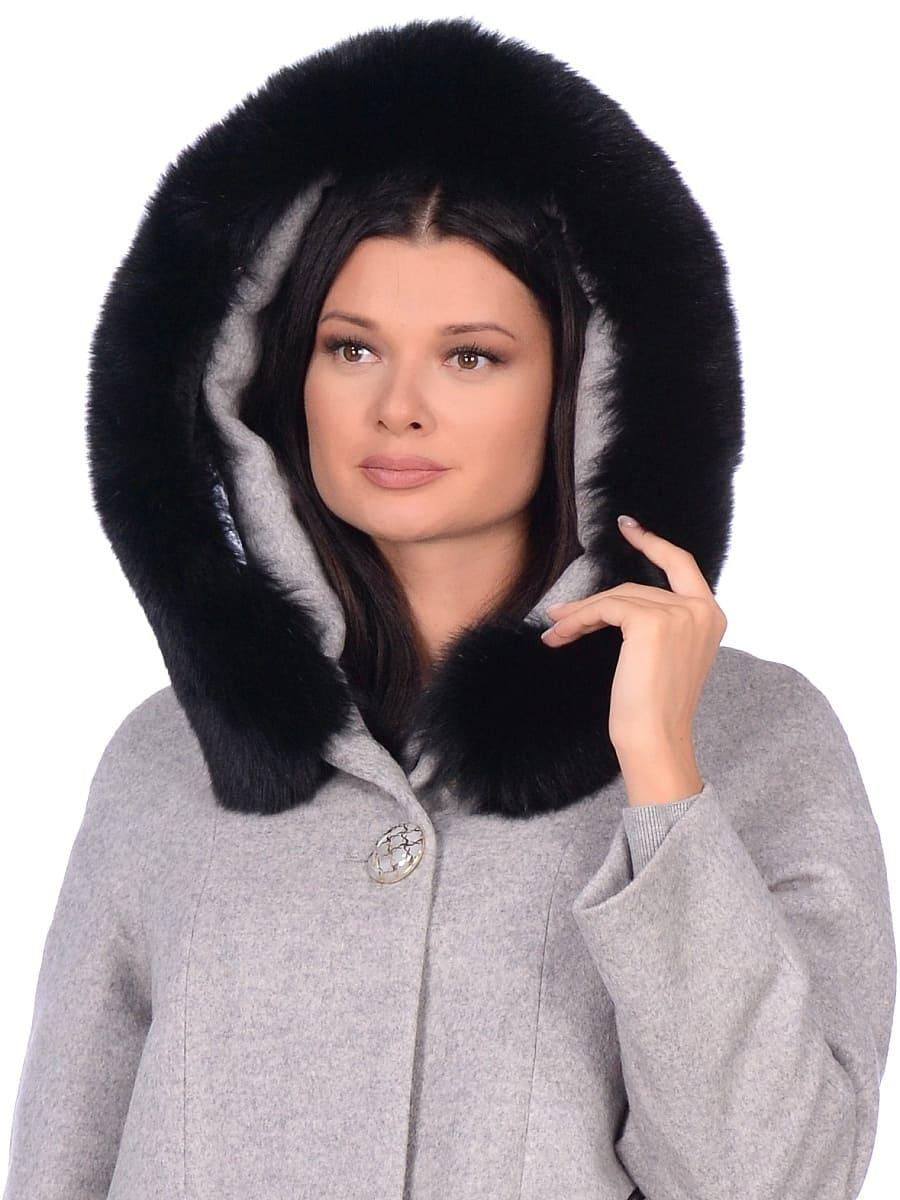 Женское зимнее пальто hr-1019 светло-серое фото-4
