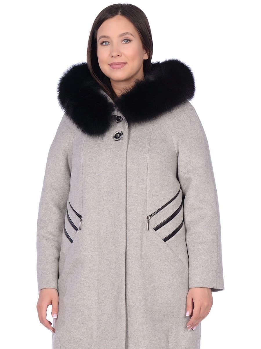 Женское зимнее пальто hr-1019 серое фото-2