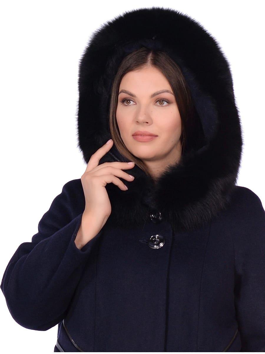 Женское зимнее пальто hr-1019 синее фото-4