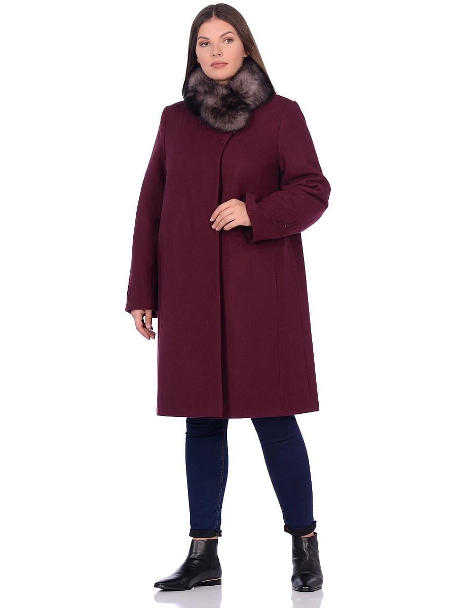 Женское зимнее пальто hr 1020 бордовое фото-1