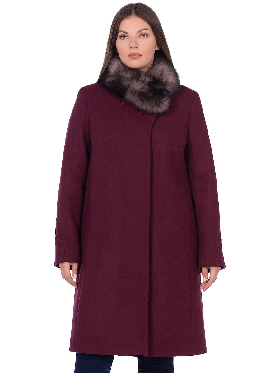 Женское зимнее пальто hr 1020 бордовое фото-2