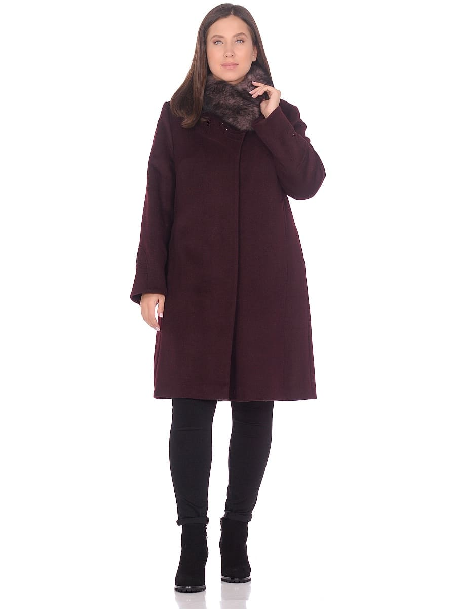 Женское зимнее пальто hr 1020 винное фото-1