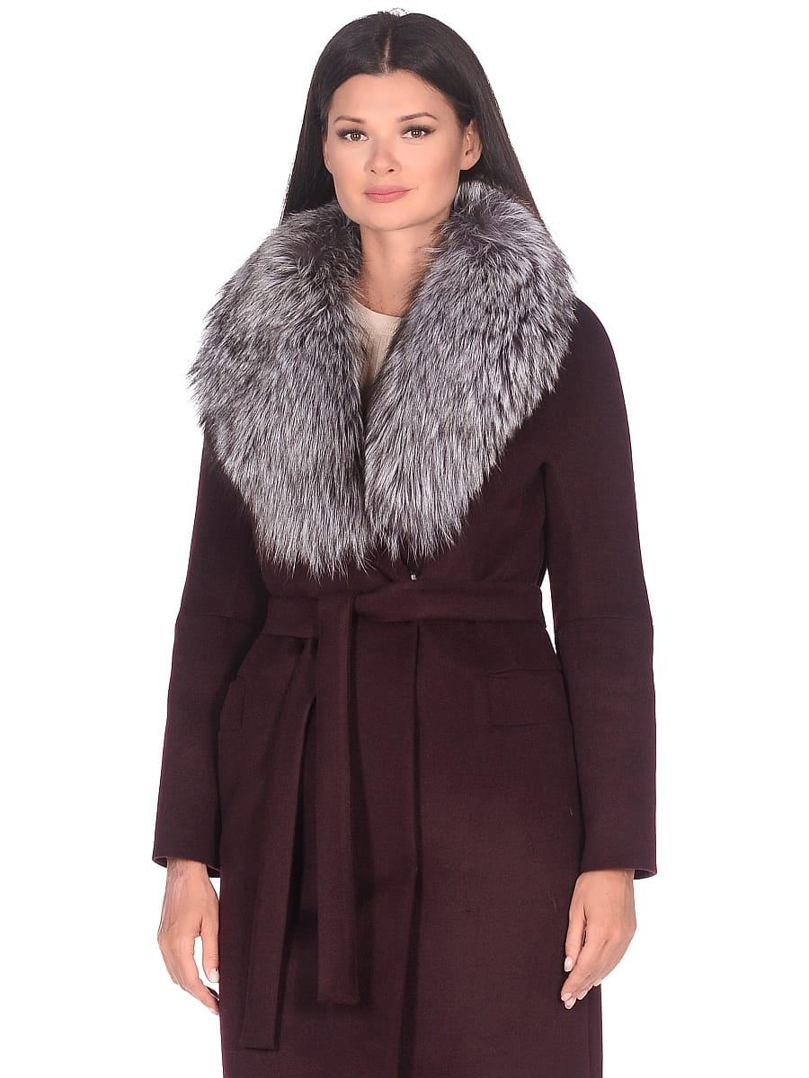 Женское зимнее пальто hr-1021 бордовое фото-2