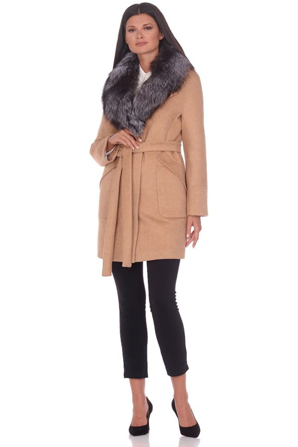 Женское зимнее пальто hr-1022 бежевое фото-1