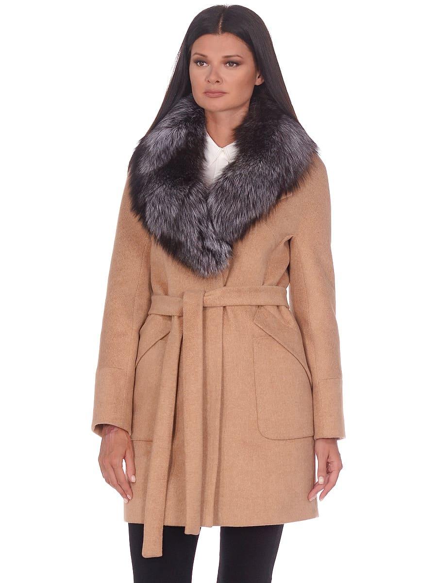 Женское зимнее пальто hr-1022 бежевое фото-2