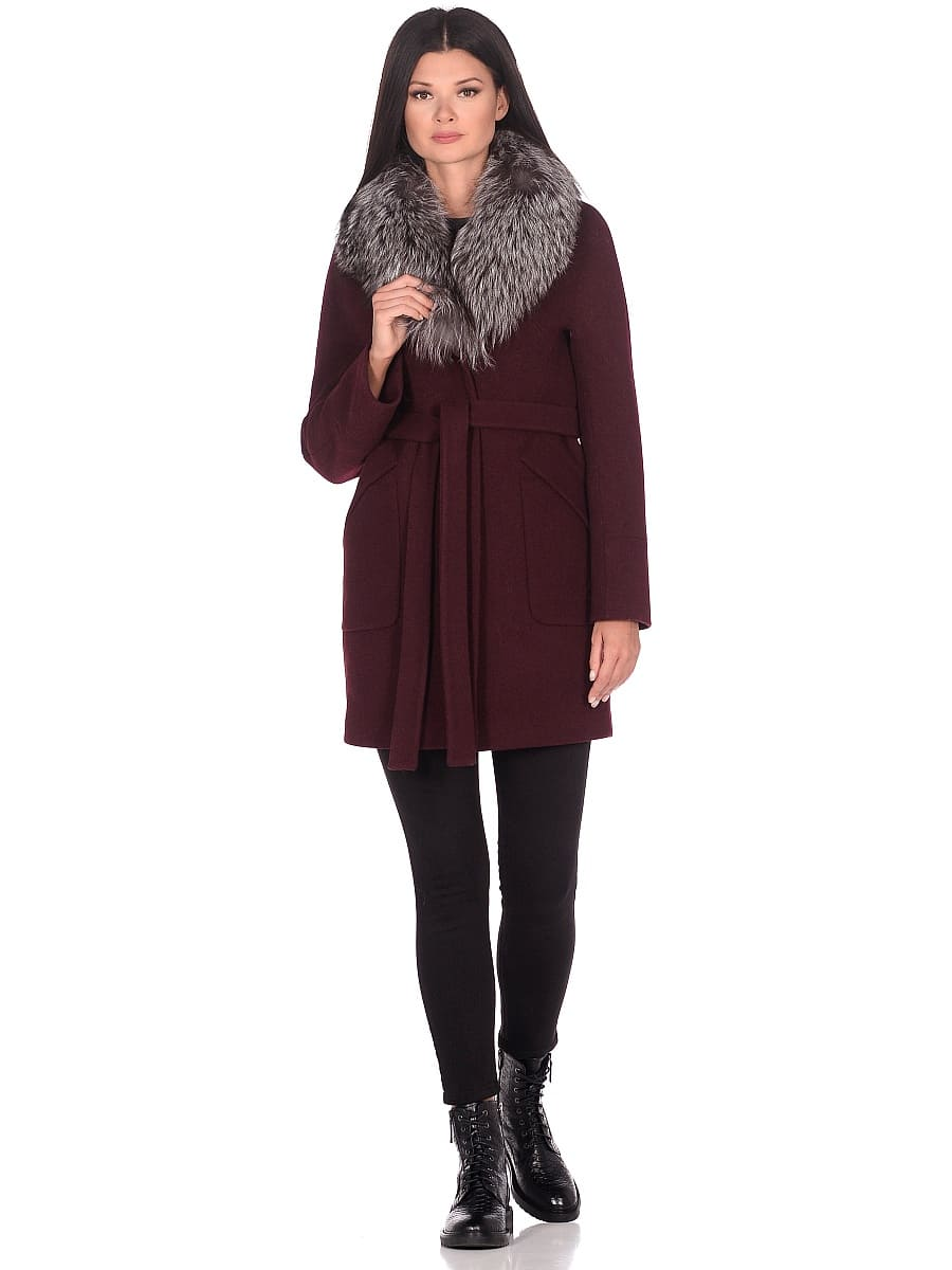 Женское зимнее пальто hr-1022 бордовое фото-1