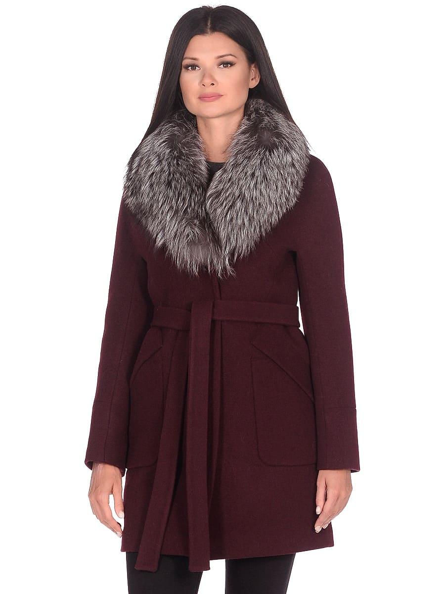 Женское зимнее пальто hr-1022 бордовое фото-2