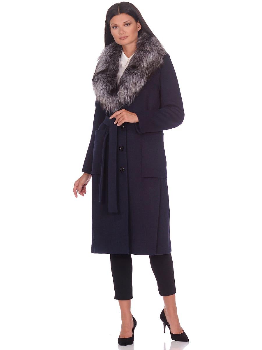 Женское зимнее пальто hr-1024 синее фото-1