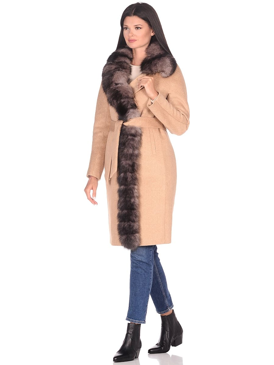 Женское зимнее пальто hr-1025 бежевое фото-1
