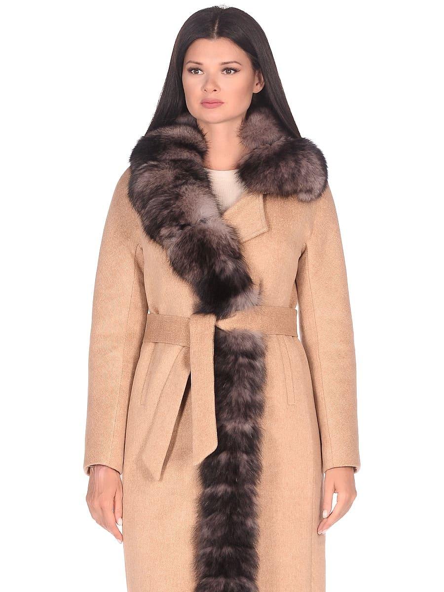 Женское зимнее пальто hr-1025 бежевое фото-2