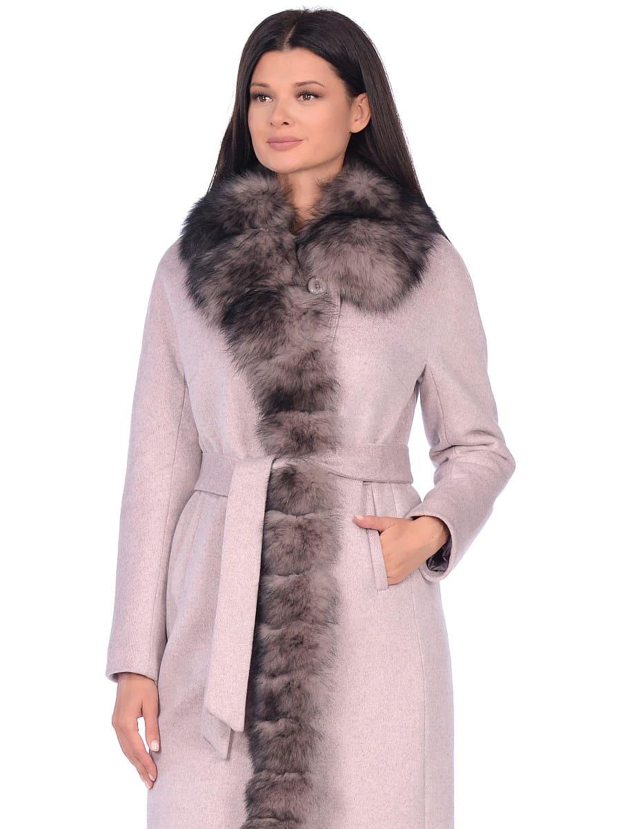 Женское зимнее пальто hr-1025 бледно-розовое фото-2