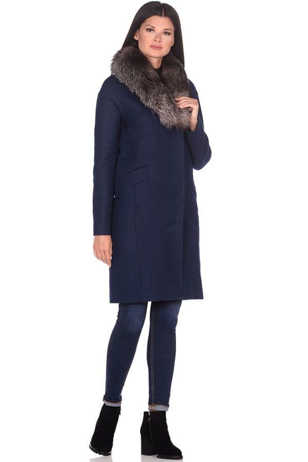 Женское зимнее пальто hr-1026 синее фото-1