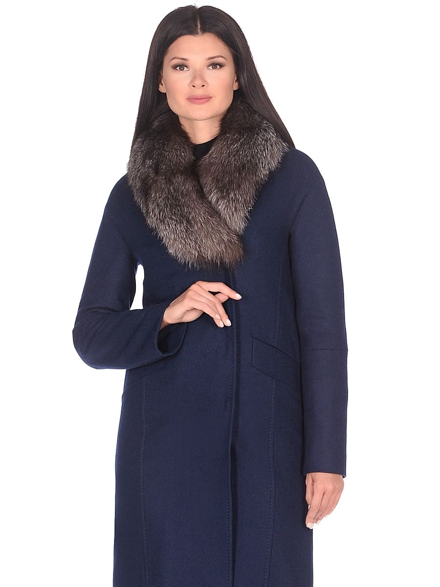 Женское зимнее пальто hr-1026 синее фото-2