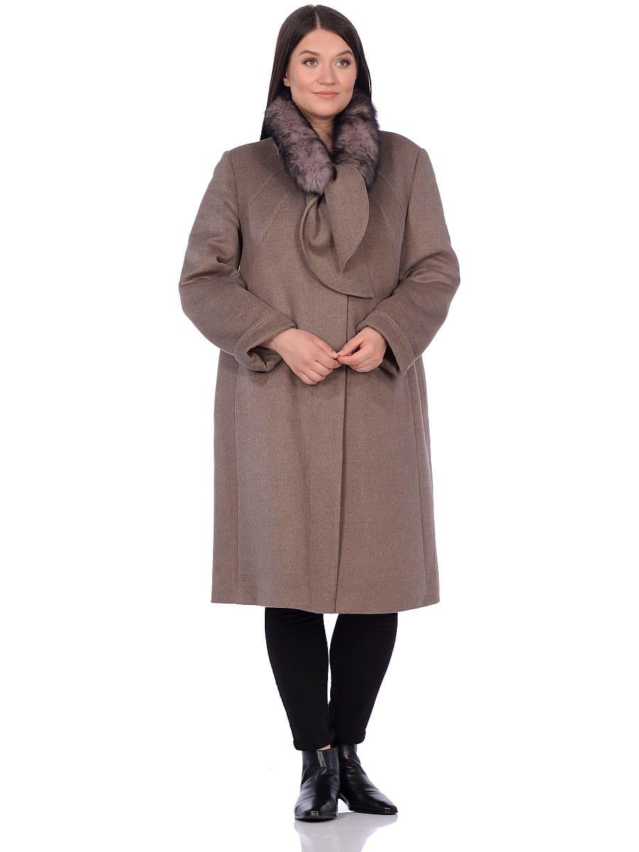 Женское зимнее пальто hr-1007 бежевое фото-1