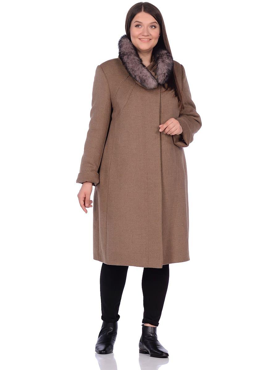 Женское зимнее пальто hr-1007 песочное фото-1