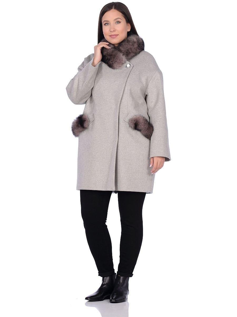 Женское зимнее пальто hr-1014 светло-серое фото-1