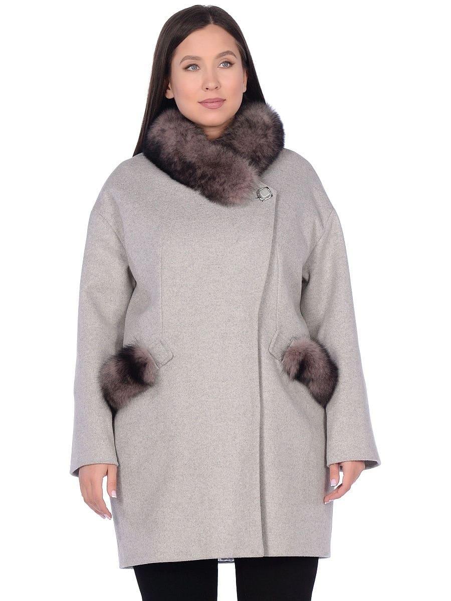 Женское зимнее пальто hr-1014 светло-серое фото-2