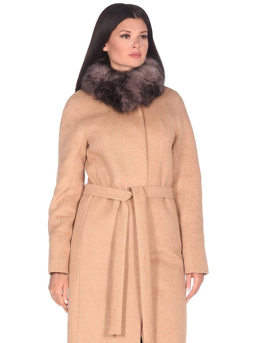 Женское зимнее пальто hr-1018 песочное фото-2
