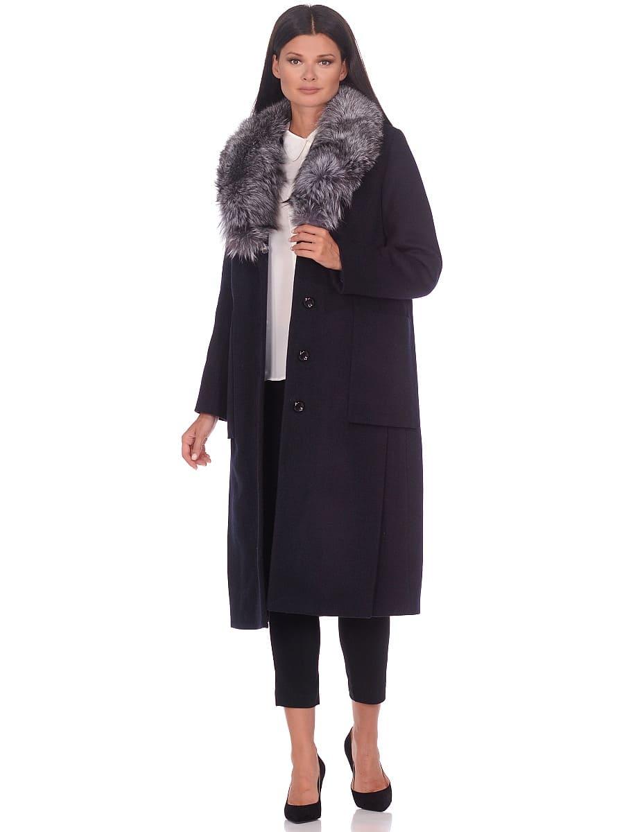 Женское зимнее пальто hr-1024 темно-синее фото-1