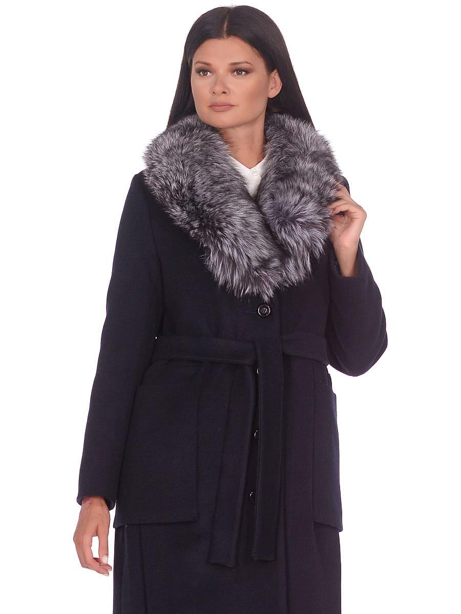 Женское зимнее пальто hr-1024 темно-синее фото-2