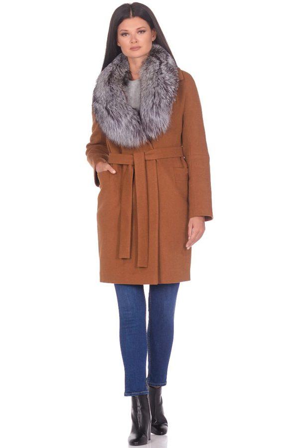 Женское зимнее пальто hr-1021 горчичное фото-1