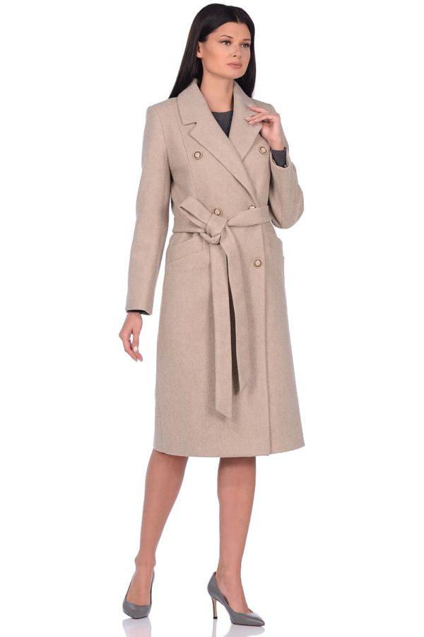 Женское демисезонное пальто hr-046 бежевое фото-1