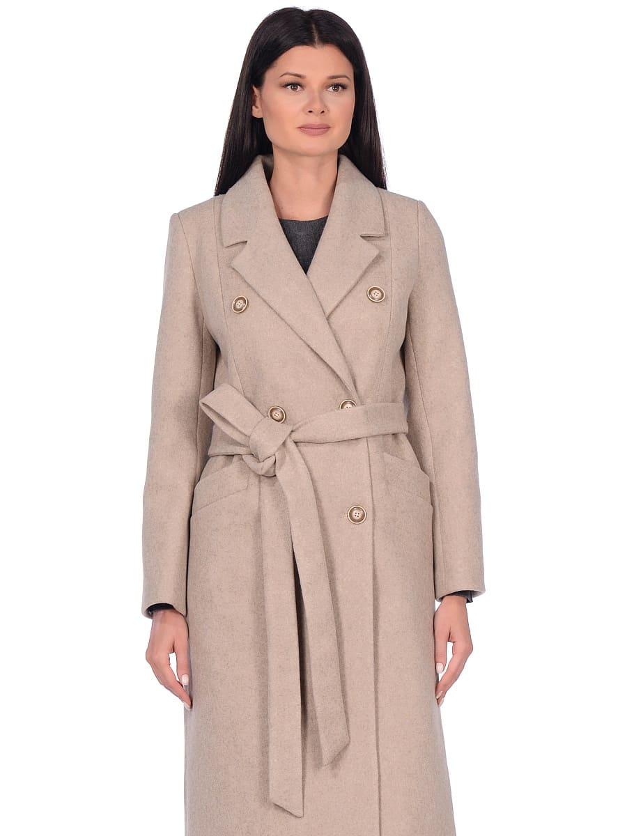 Женское демисезонное пальто hr-046 бежевое фото-2