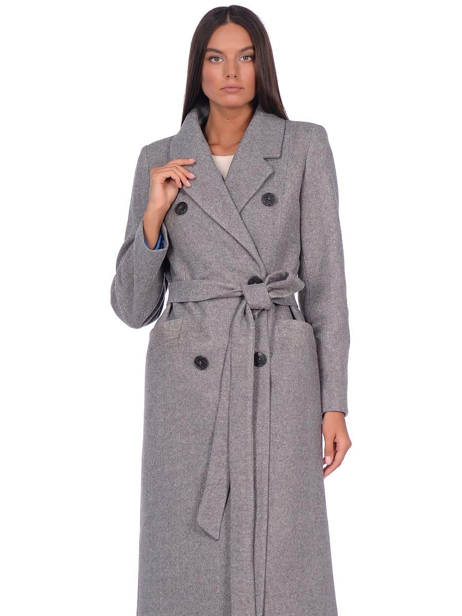 Женское демисезонное пальто hr-046 серое фото-2