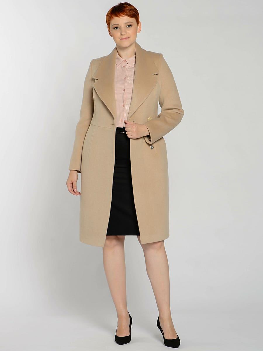 Женское демисезонное пальто hr-047 бежевое фото-1