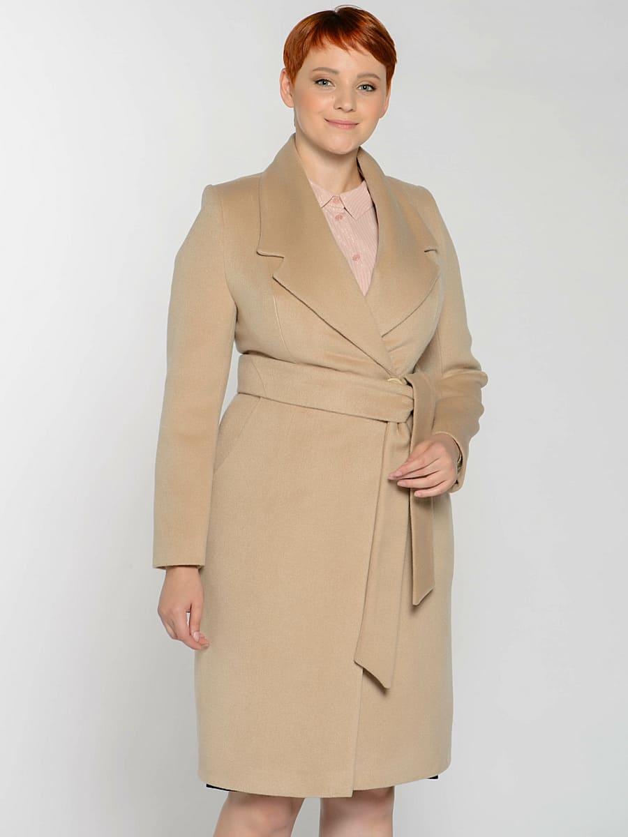 Женское демисезонное пальто hr-047 бежевое фото-2