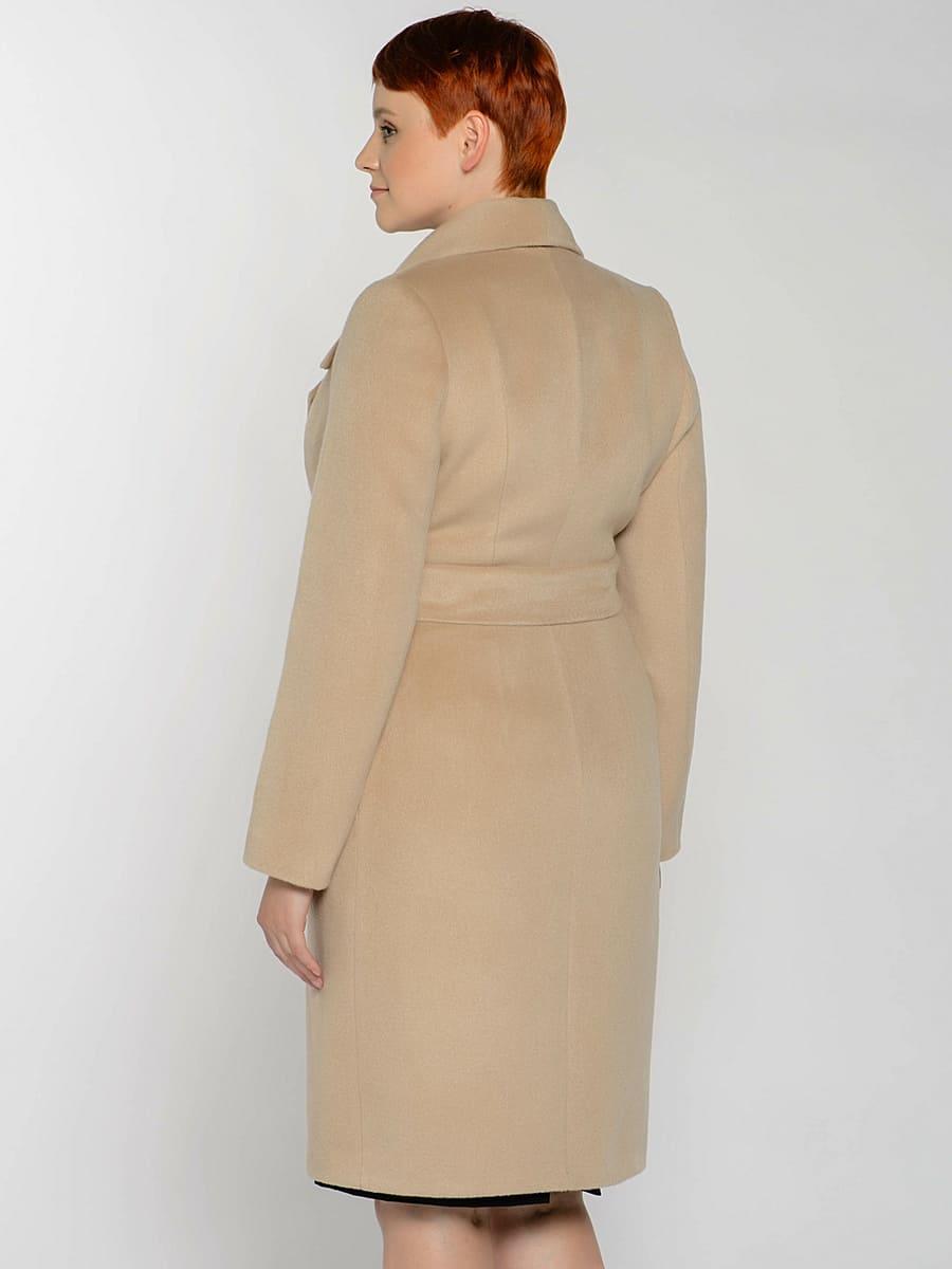 Женское демисезонное пальто hr-047 бежевое фото-3