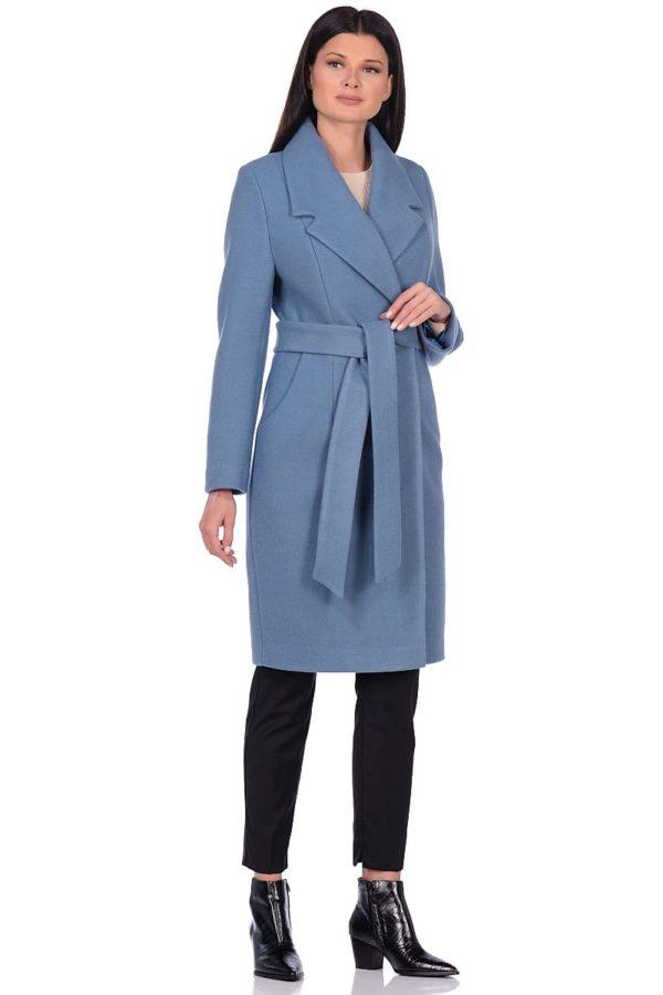 Женское демисезонное пальто hr-047 голубое фото-1