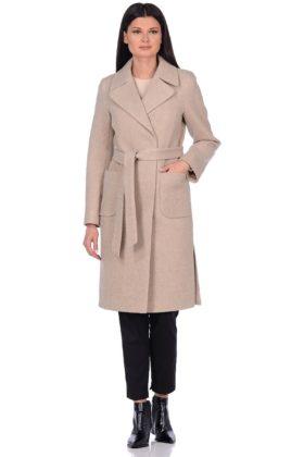 Женское демисезонное пальто hr-044 бежевое фото-1