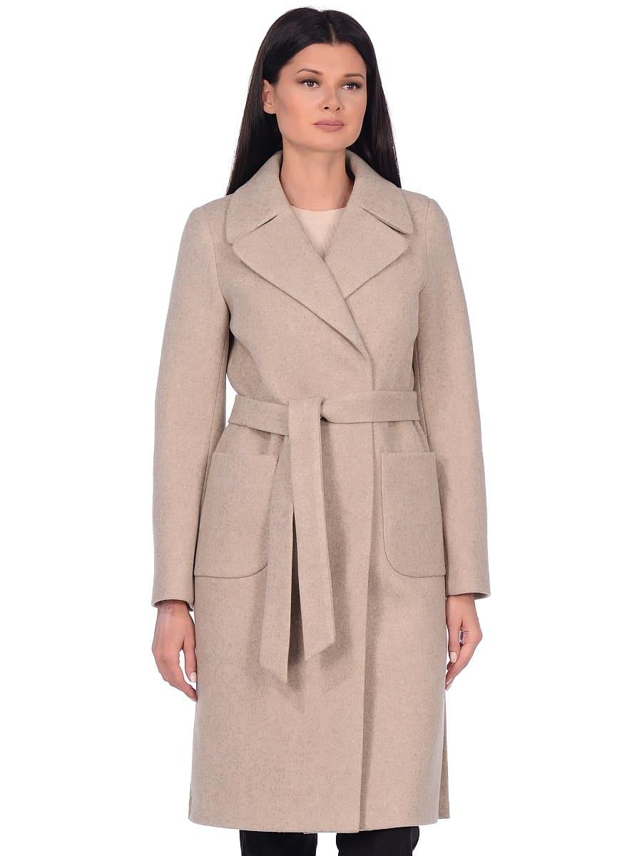 Женское демисезонное пальто hr-044 бежевое фото-2