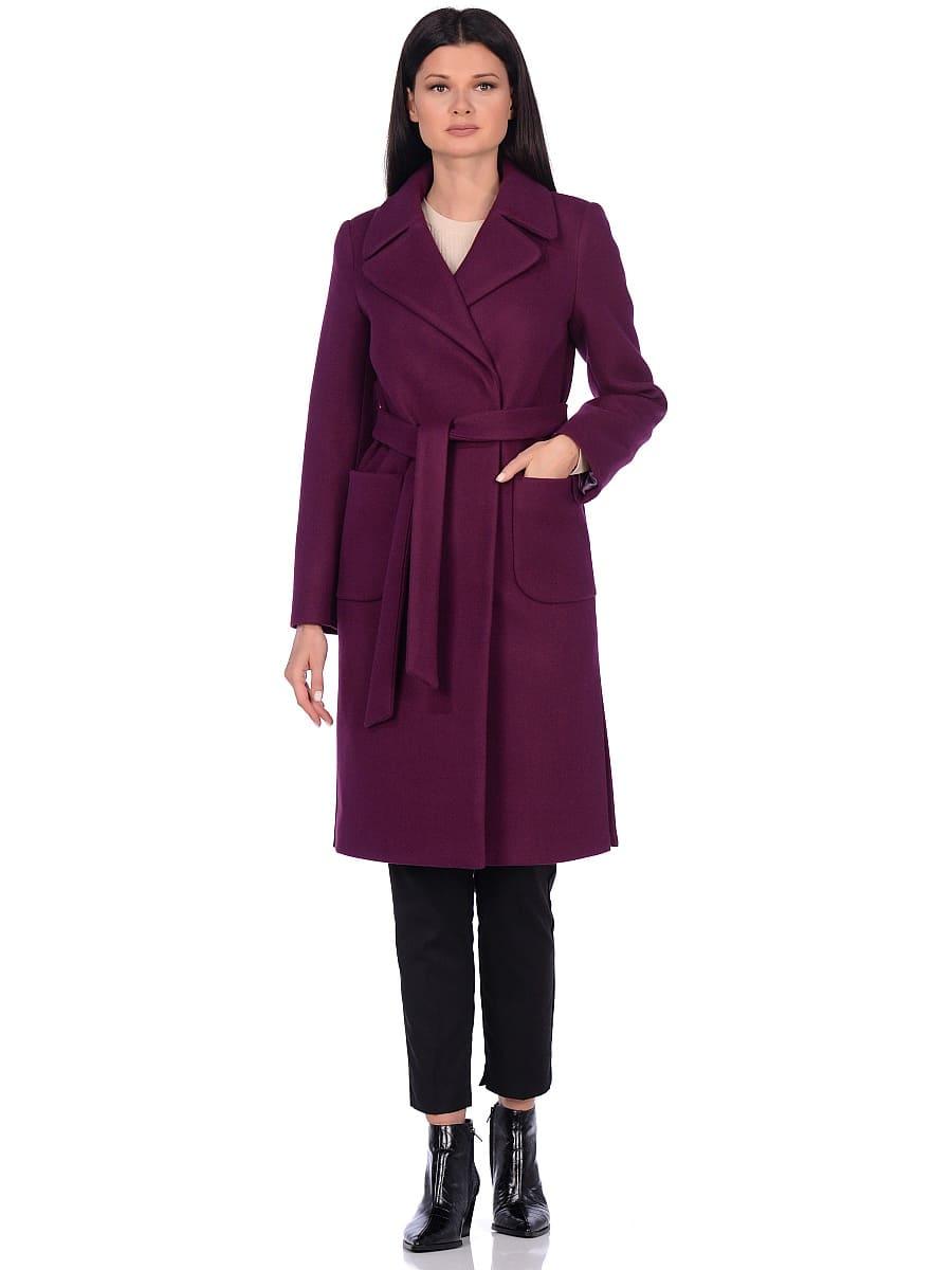 Женское демисезонное пальто hr-044 фиолетовое фото-1