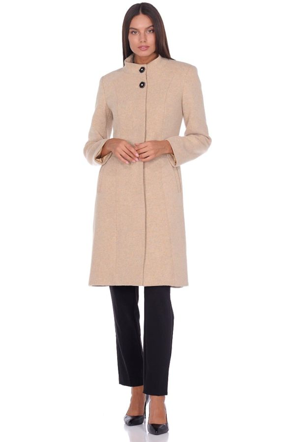 Женское демисезонное пальто hr-045 бежевое-фото-1