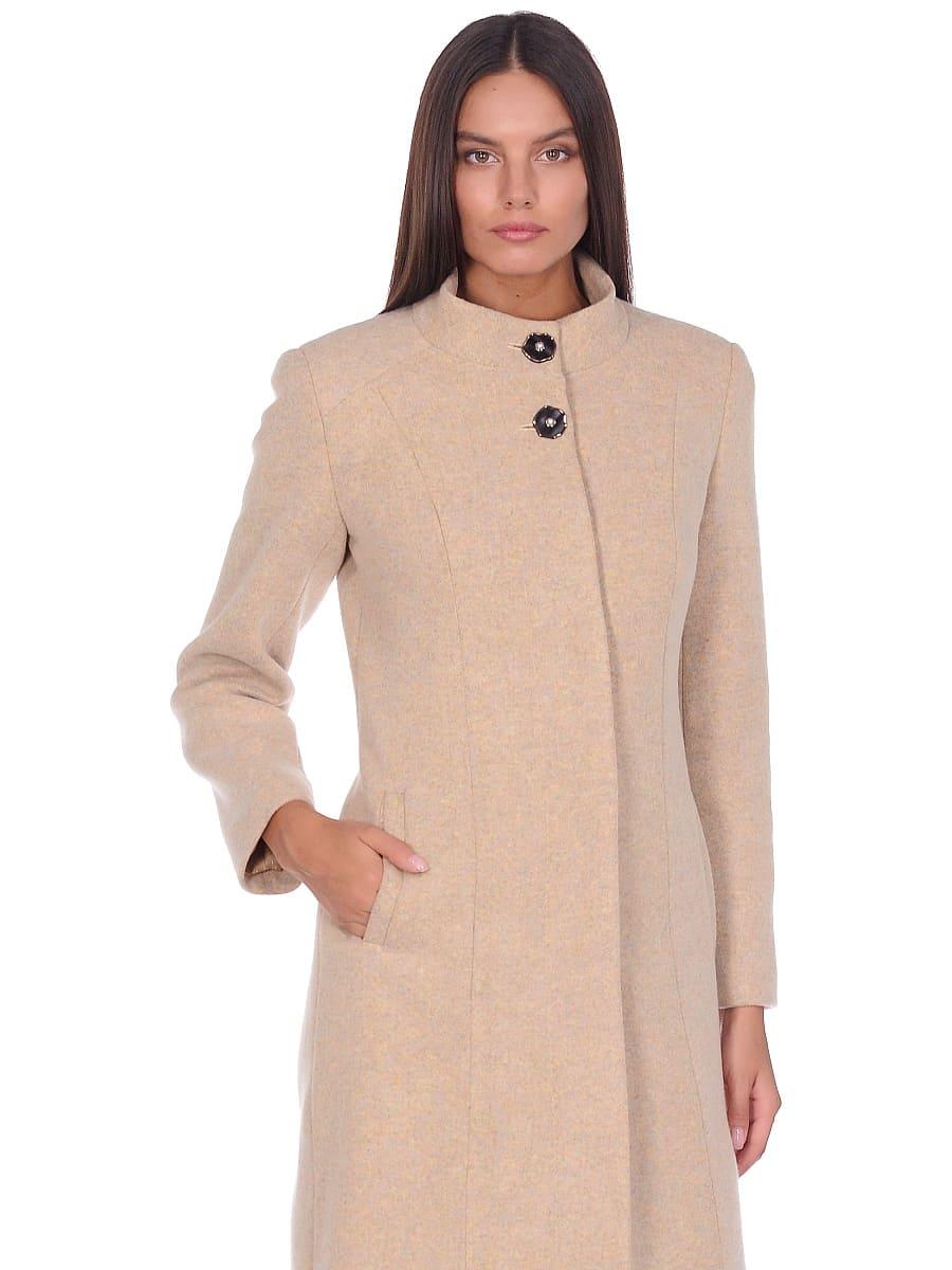 Женское демисезонное пальто hr-045 бежевое-фото-2