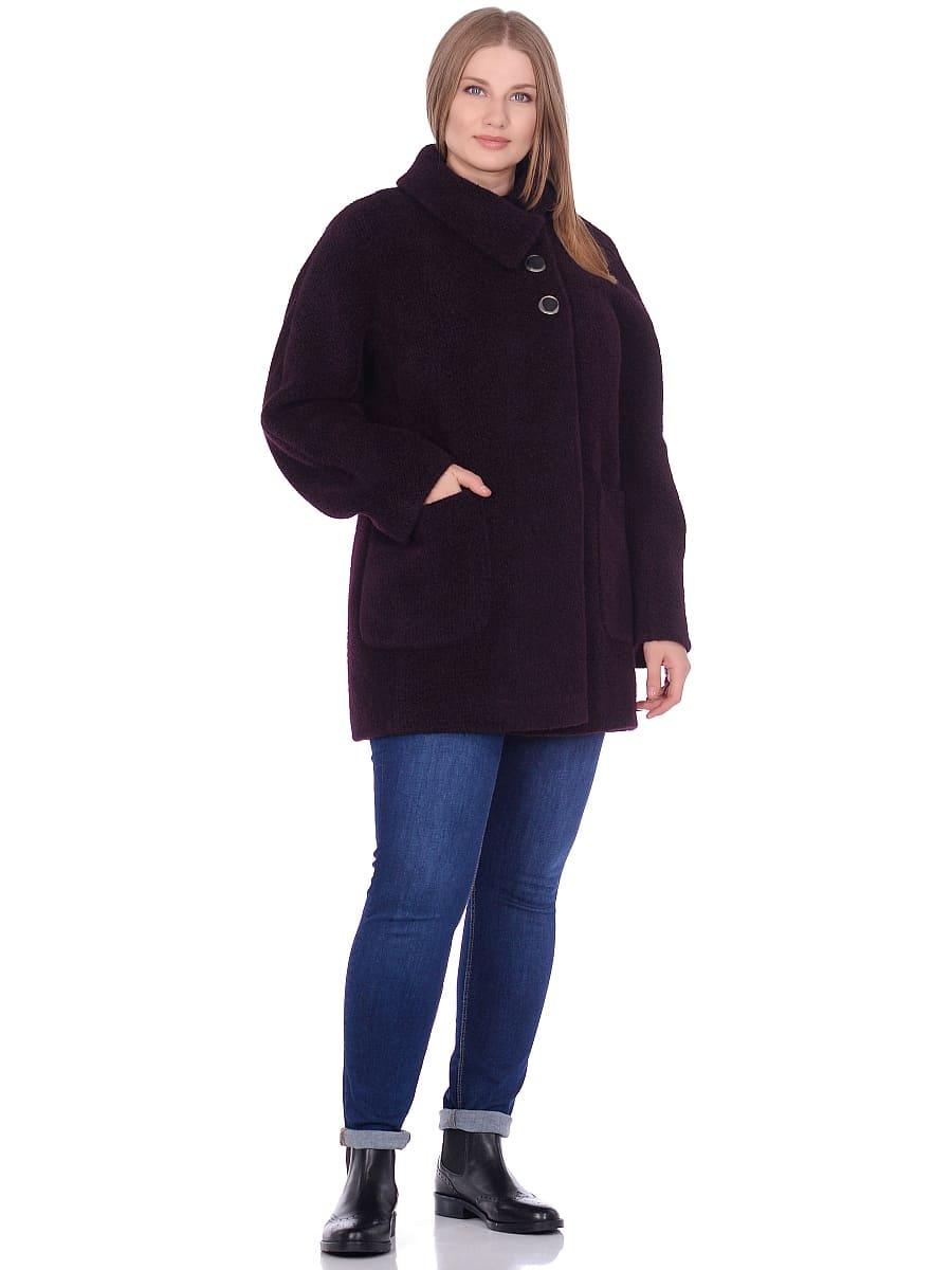Женское демисезонное пальто hr-048 темно-фиолетовое фото-1
