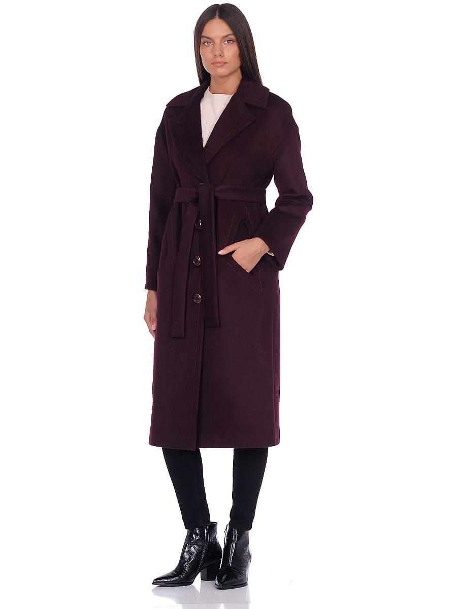 Женское демисезонное пальто hr-1013-1 темно-бордовое фото-1