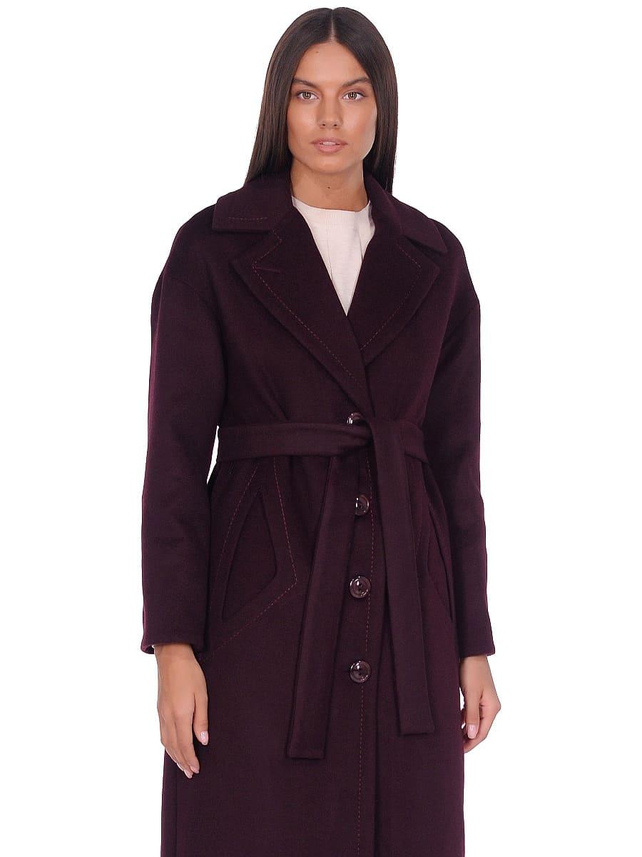 Женское демисезонное пальто hr-1013-1 темно-бордовое фото-2