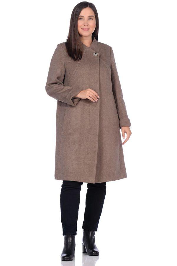 Женское демисезонное пальто hr-1007-1 бежевое фото-1