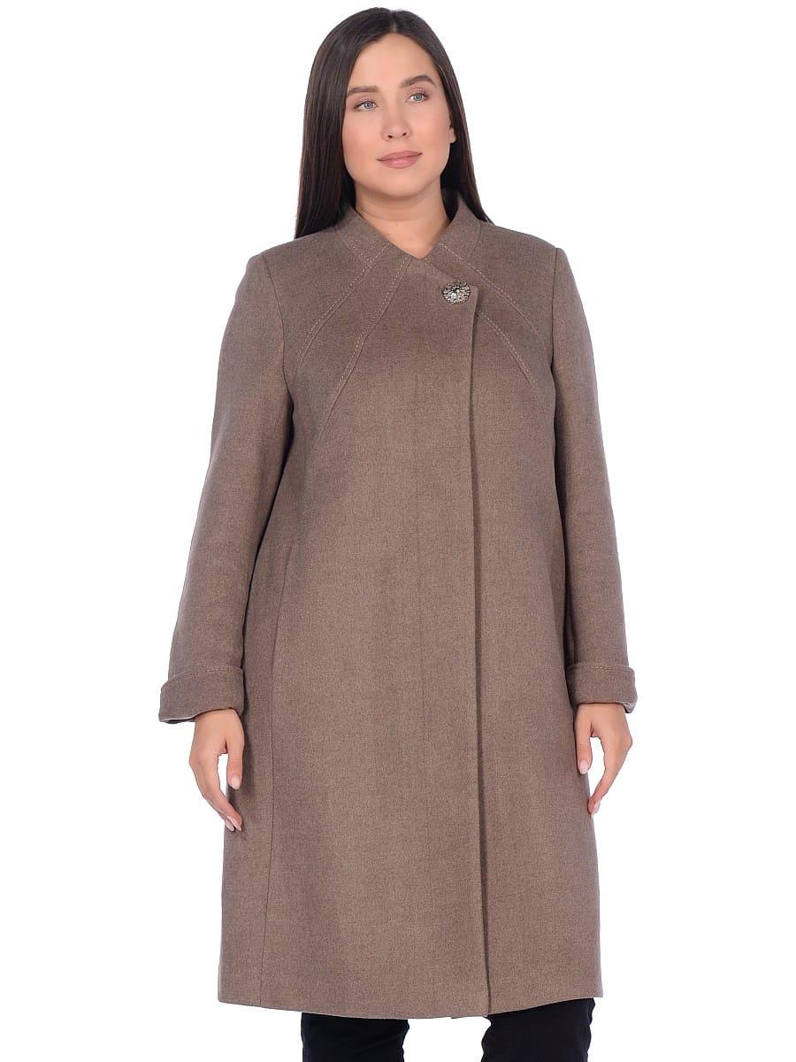 Женское демисезонное пальто hr-1007-1 бежевое фото-2