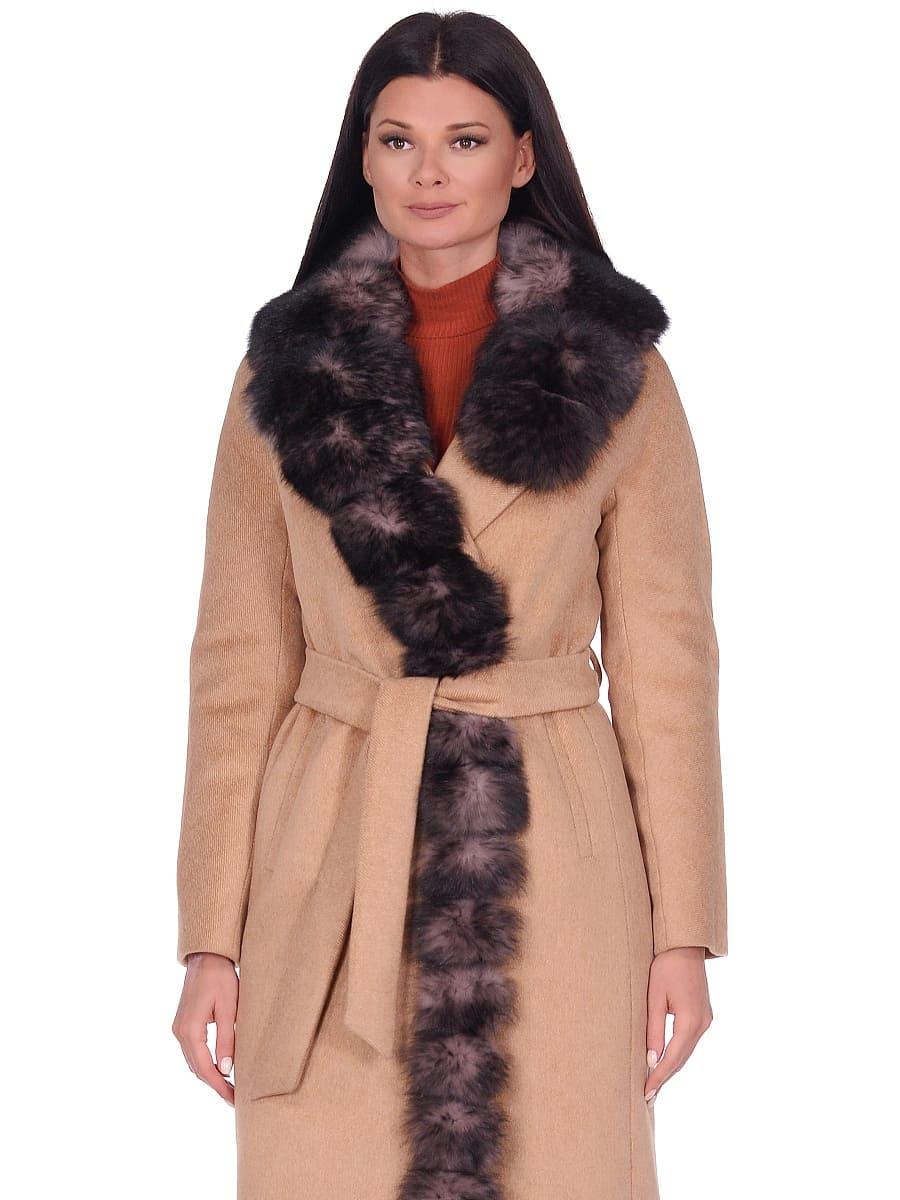 Женское зимнее пальто hr-1025 песочное фото-2