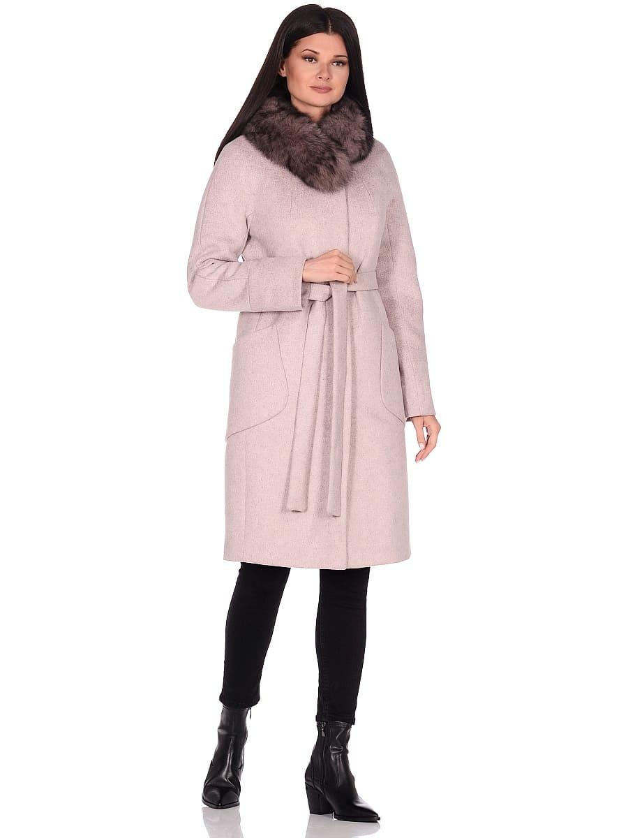 Женское зимнее пальто hr-1018 бледно-розовое фото-1