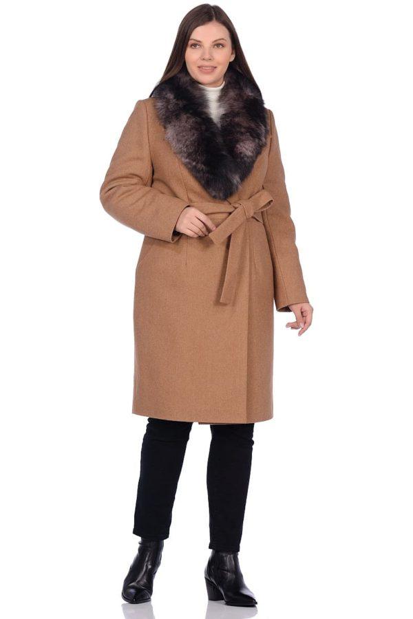 Женское зимнее пальто hr-1009-2 песочное фото-1