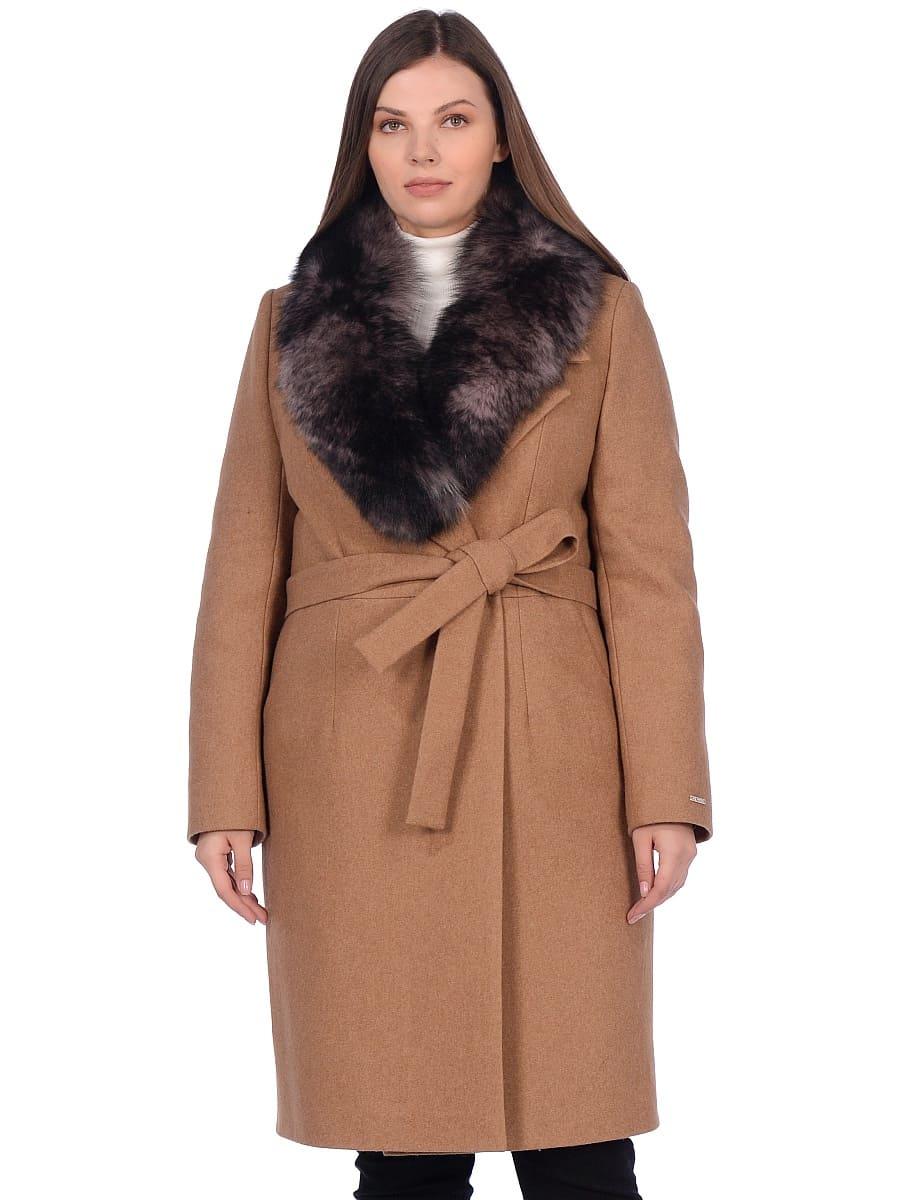Женское зимнее пальто hr-1009-2 песочное фото-2