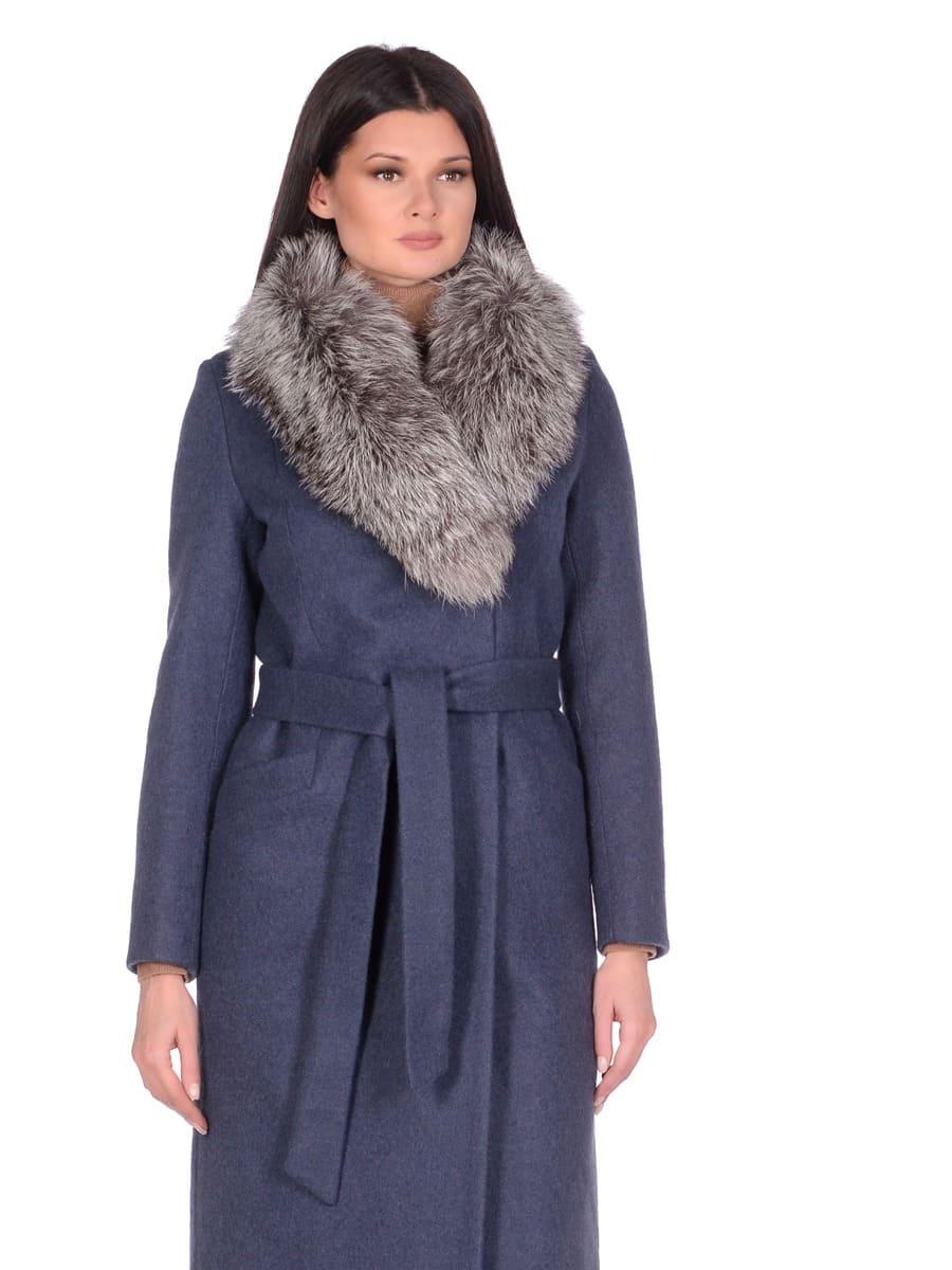 Женское зимнее пальто hr-014a синее фото-2