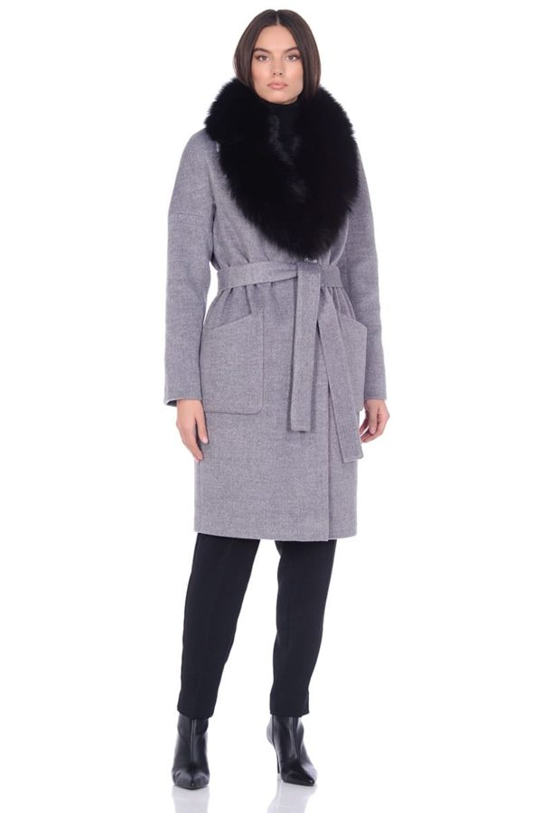 Женское зимнее пальто hr-054 кофейное фото-1