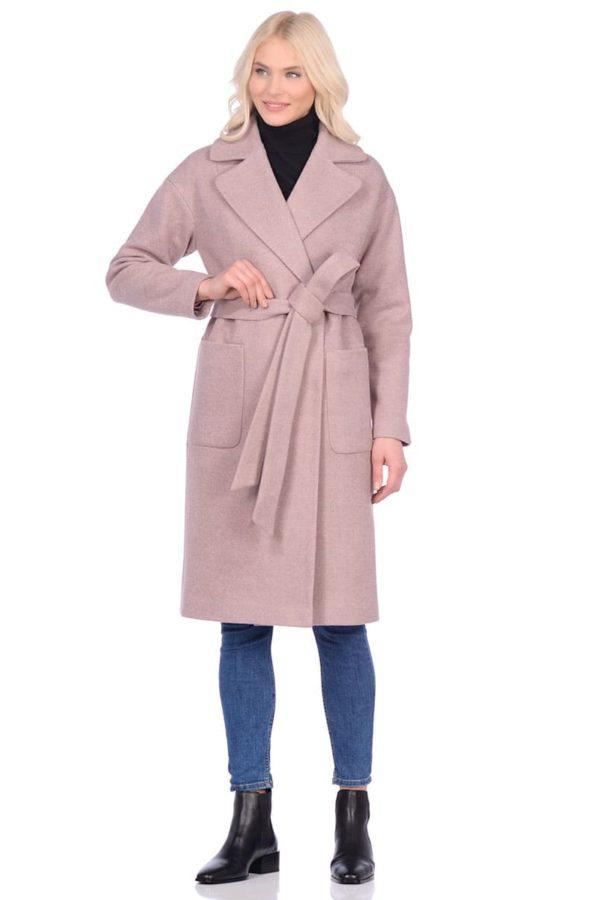 Женское демисезонное пальто hr-002b бежевое фото-1