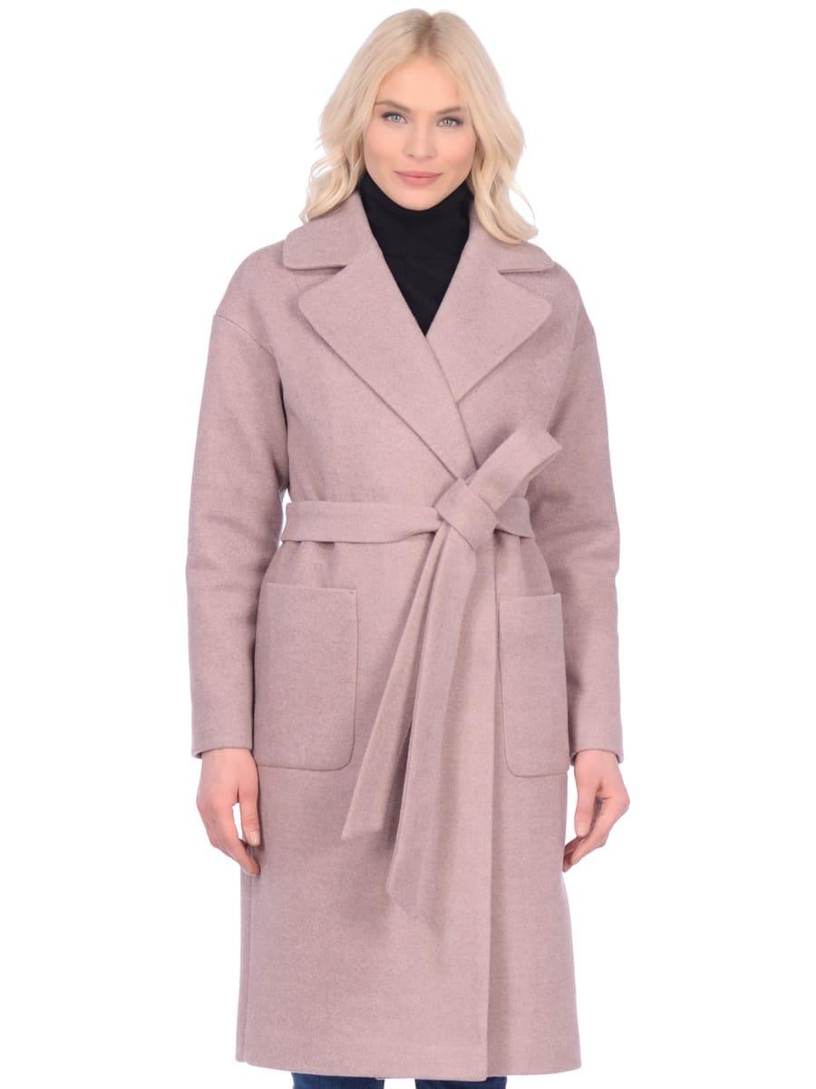 Женское демисезонное пальто hr-002b бежевое фото-2